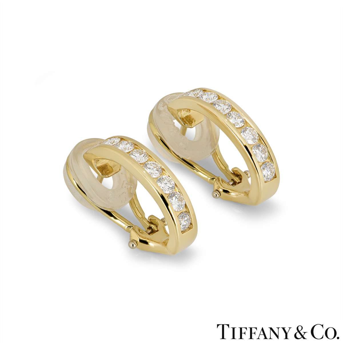 cd4b6bb6e Tiffany & Co 18k Yellow Gold Diamond Set Hoop Earrings 0.96ct ...